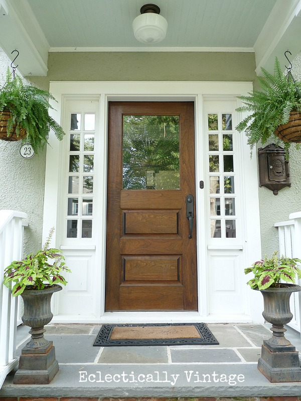 Welcoming small front porch - love the ferns kellyelko.com