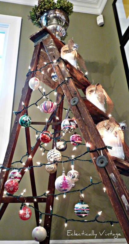 Very Unique Christmas Tree - an old ladder!  kellyelko.com