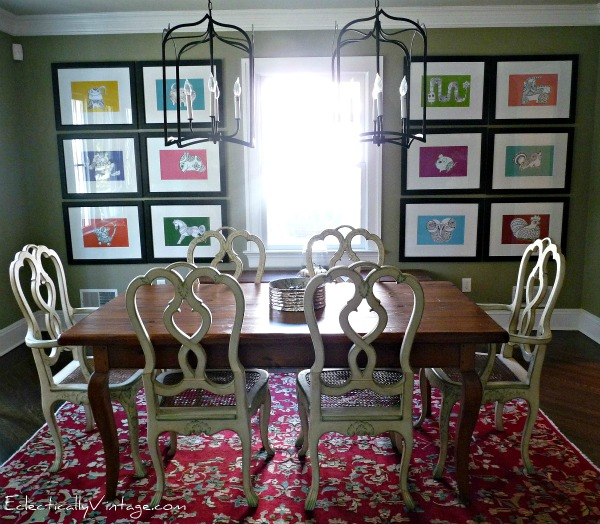 Dining Room - love the mix of collections and furniture (and that art)!  kellyelko.com