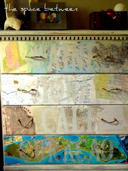 Stenciled Map Dresser DIY