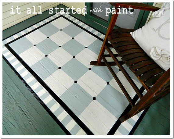 How to paint a rug on hardwood - this is so fun!  kellyelko.com