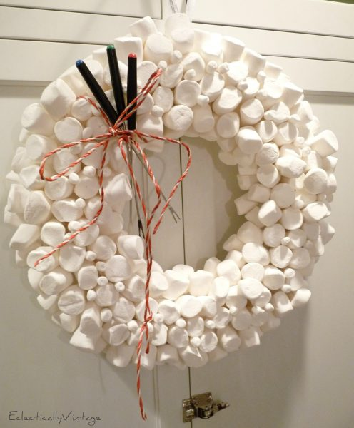 Christmas Open House Tour - filled with tons of unique Christmas decorating ideas like this marshmallow wreath!  kellyelko.com