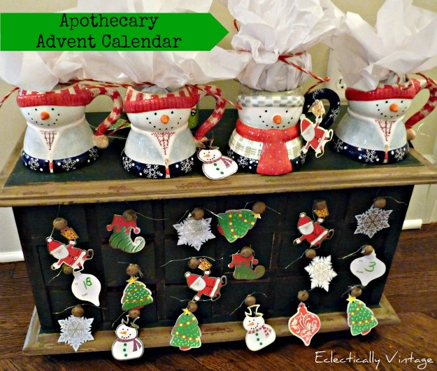 Christmas Open House Tour - filled with tons of unique Christmas decorating ideas like this cute advent calendar!  eclecticallyvintage.com