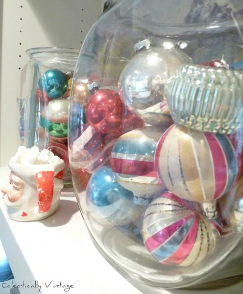 Vintage shiny brite ornaments - love the way they are displayed!  kellyelko.com