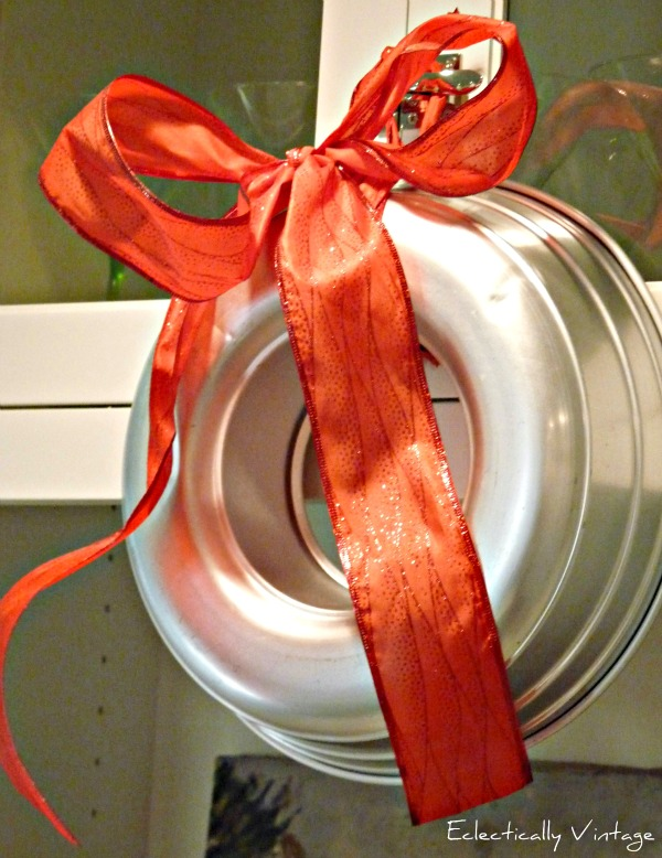 Christmas Open House Tour - filled with tons of unique Christmas decorating ideas like this bundt pan wreath!  eclecticallyvintage.com