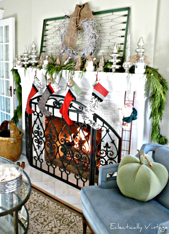 Santa will be hurrying down the chimney to see this fabulous Christmas mantels!  kellyelko.com