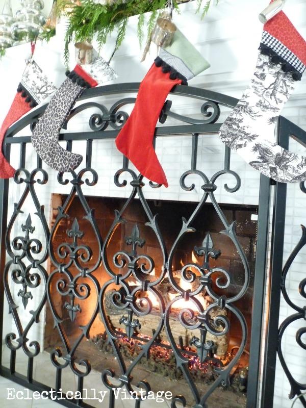 Fabulous toile & leopard Christmas stockings kellyelko.com