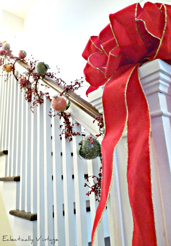 Sugared Fruit decorations for Christmas - see this fun banister at kellyelko.com