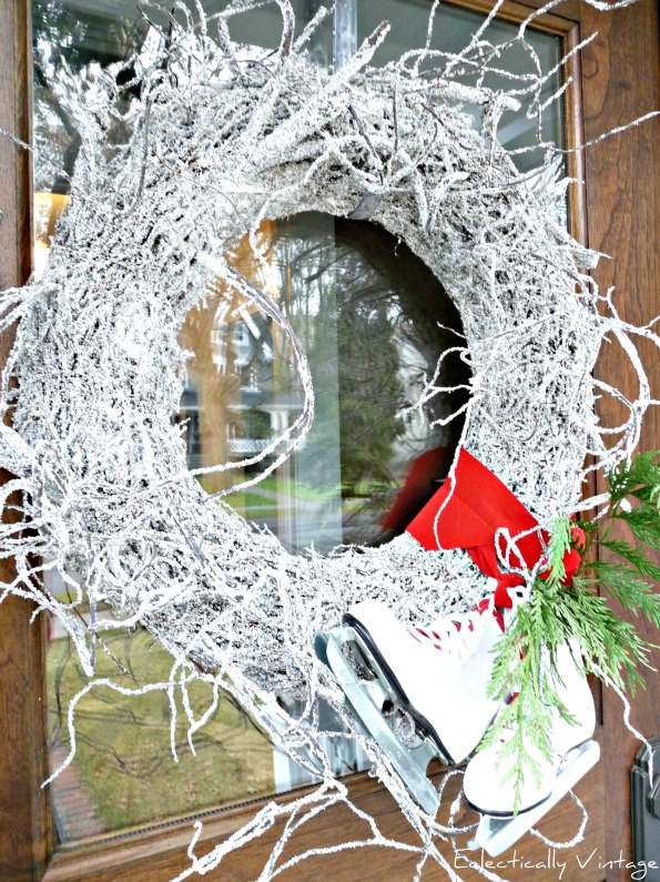 Christmas Open House Tour - filled with tons of unique Christmas decorating ideas like this snowy twig wreath!  eclecticallyvintage.com