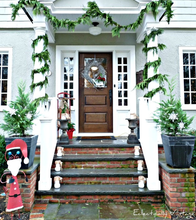 Christmas Open House Tour - filled with tons of unique Christmas decorating ideas like this porch!  eclecticallyvintage.com