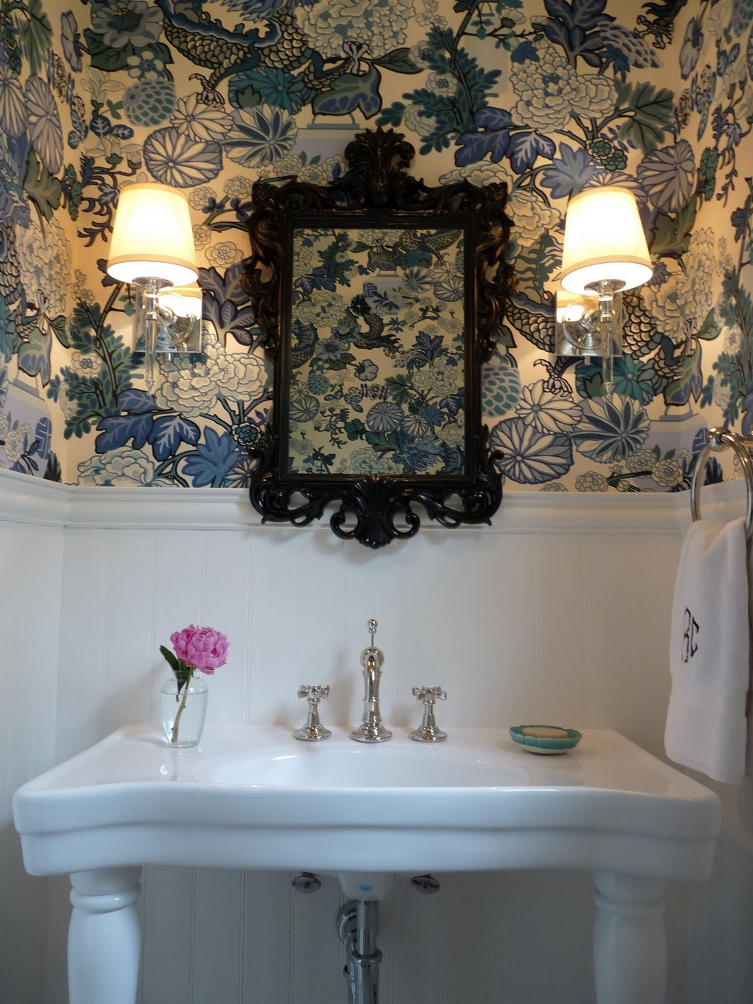 Eclectic Home Tour Bold Powder Room Wallpaper