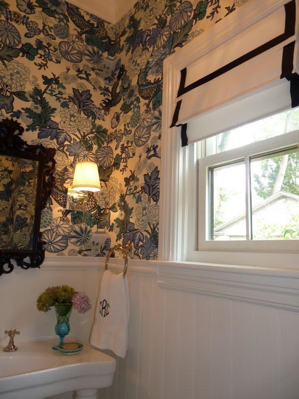 Gorgeous powder room and a DIY roman shade kellyelko.com