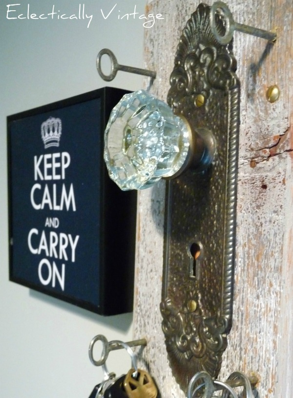 Vintage doorknob key holder - creative storage in this mudroom kellyelko.com