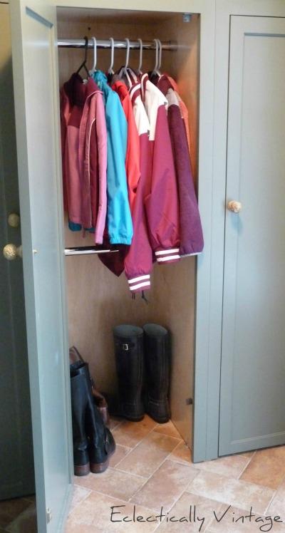Great closet idea - a double rack!  Love this mudroom kellyelko.com
