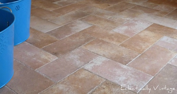 #Tile laid in a herringbone pattern - great idea!