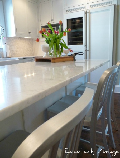 Gorgeous white kitchen before and after! kellyelko.com