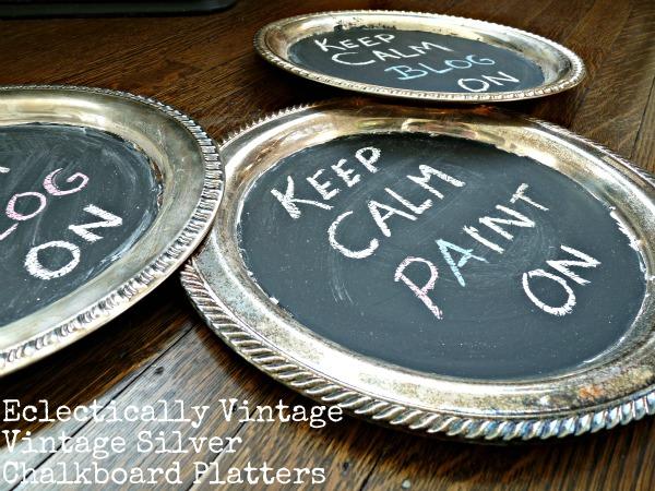 DIY Vintage Silver Chalkboard Platters eclecticallyvintage.com