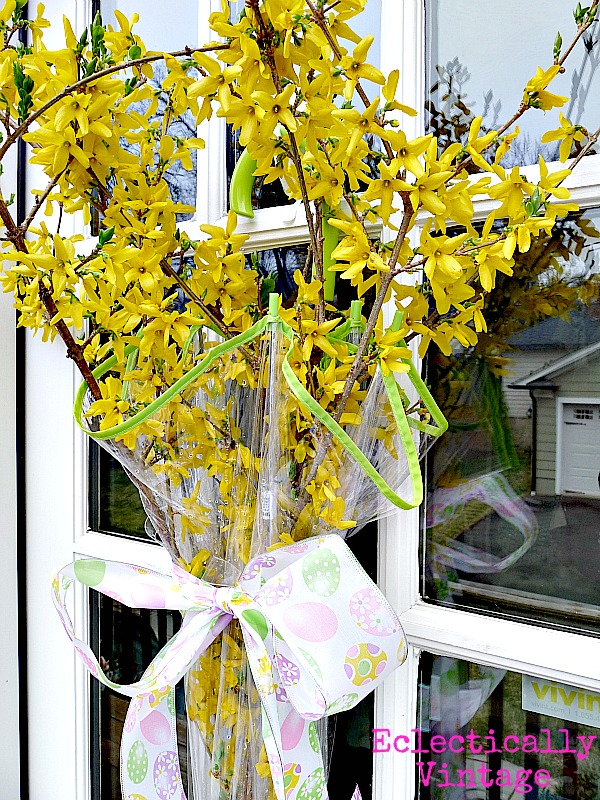 Singing in the Rain Spring Door Wreath eclecticallyvintage.com