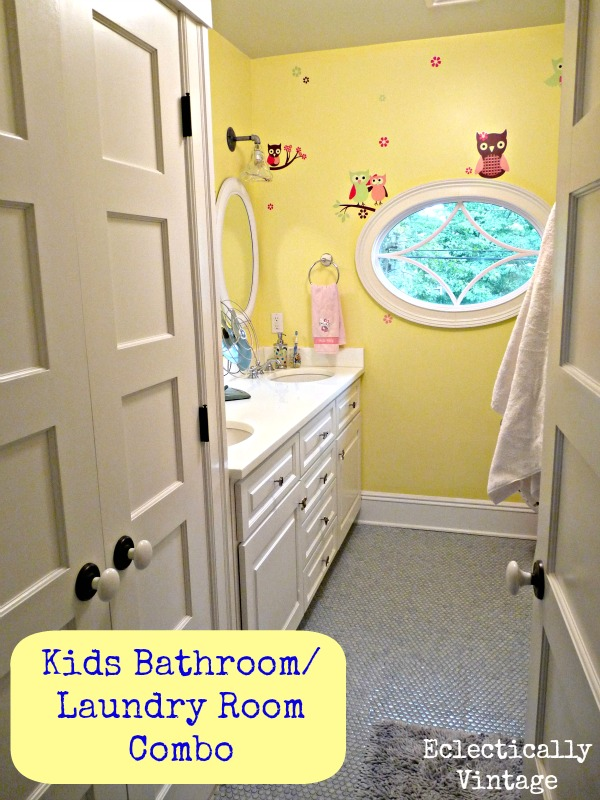 Cheery kids bathroom - love the color combo and the laundry in the closet!  eclecticallyvintage.com