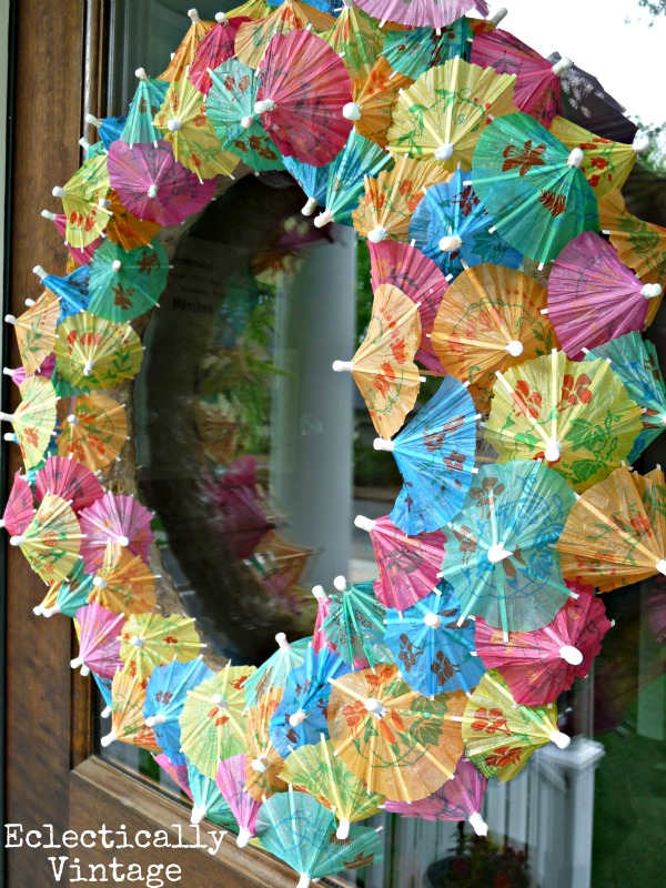 Make a Summer Cocktail Umbrella Wreath - how fun!  eclecticallyvintage.com