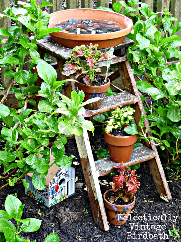 DIY garden ideas - try a stepladder birdbath  kellyelko.com
