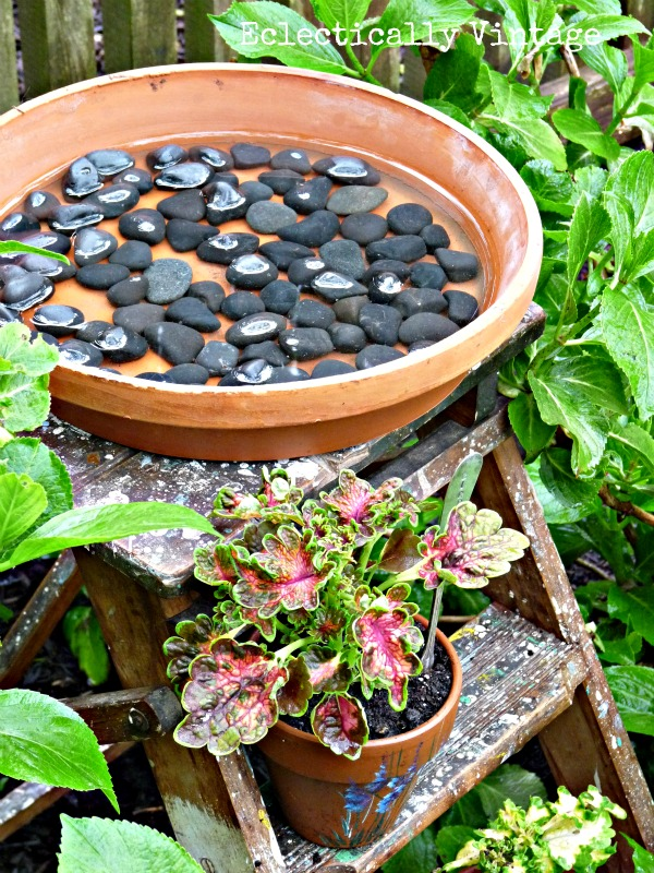 stepladder birdbath - this is really for the birds!  eclecticallyvintage.com