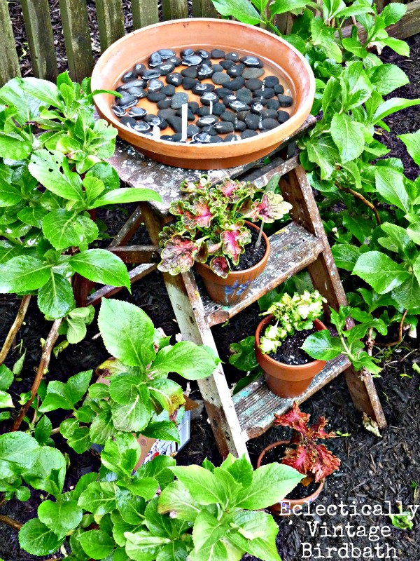 Unique Bird Bath - stepladder birdbath - this is really for the birds!  eclecticallyvintage.com