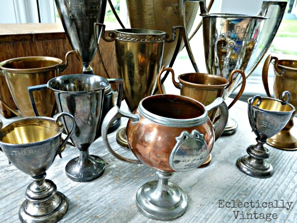 Vintage loving cups trophy collection - see this beautiful collection kellyelko.com