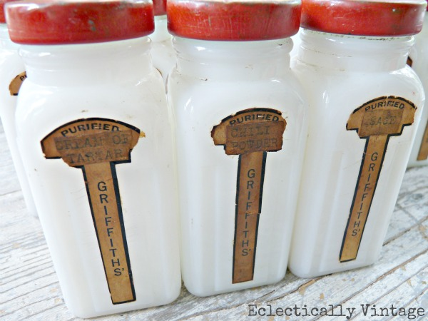 vintage milk glass spice jars red lid
