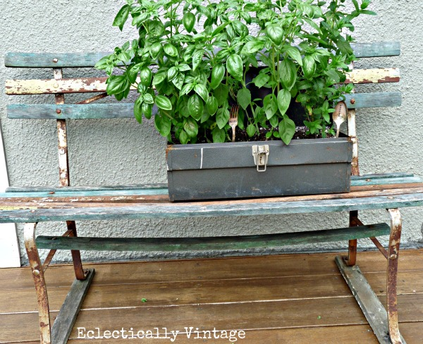 Toolbox Planter and stamped silver markers - how unique!  eclecticallyvintage.com