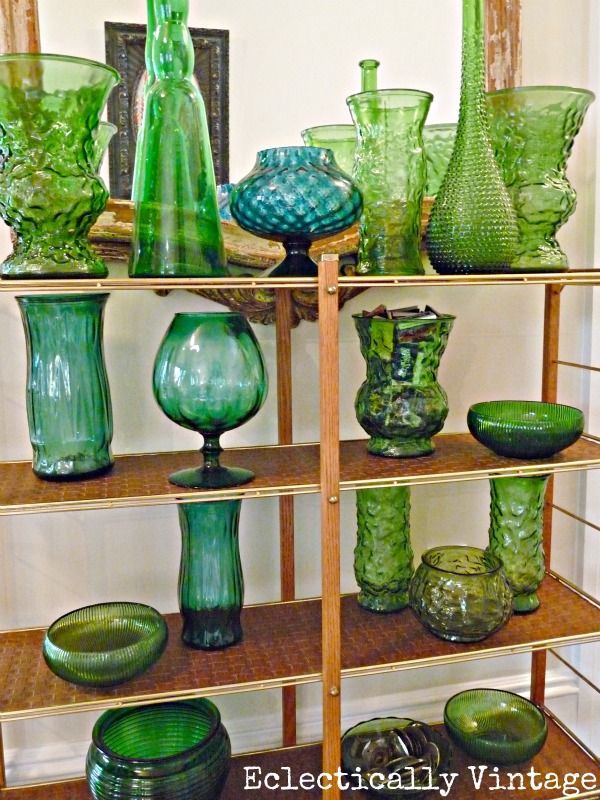 Vintage green glass collection kellyelko.com