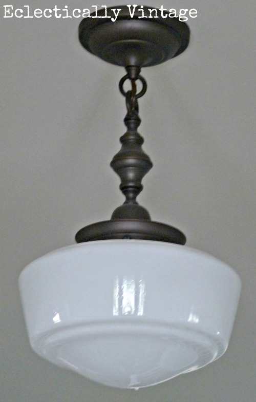 Schoolhouse light in a fabulous foyer - kellyelko.com