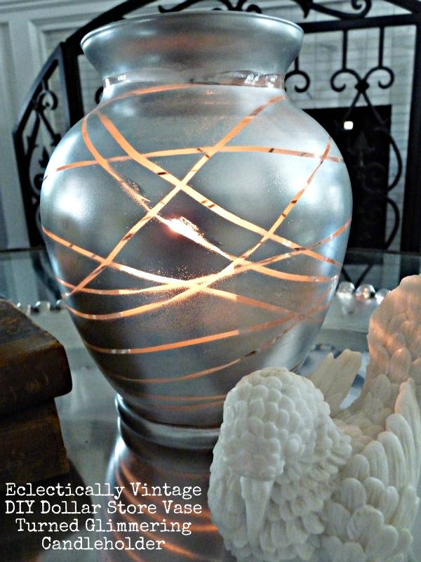 Great glass crafts - Dollar store vase turned mercury glass candle holder.  eclecticallyvintage.com