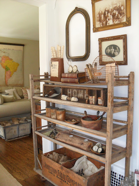 Must Love Junk home tour - she has the most amazing collections and displays like this vintage shoe rack! kellyelko.com