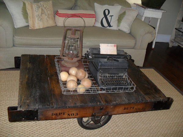 Love this factory cart coffee table kellyelko.com