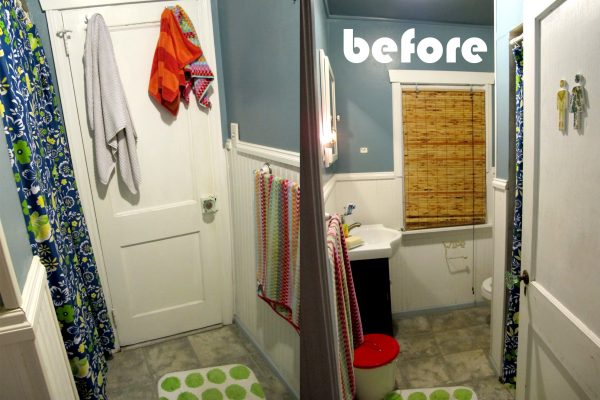Amazing before and after of this fun beachy bathroom kellyelko.com