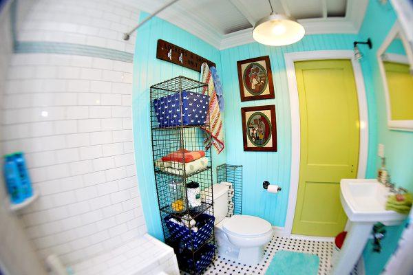Beach Bathroom - love the storage ideas kellyelko.com