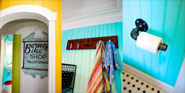 Beachy Bathroom - love the industrial tp holder kellyelko.com