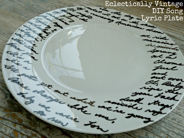 Eclectically Vintage Song Lyric Plate eclecticallyvintage.com