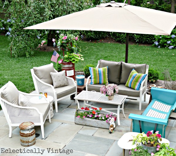 Eclectic patio - love the mix of old and new kellyelko.com