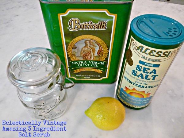How to make your own lemon salt scrub - this smells amazing!  kellyelko.com