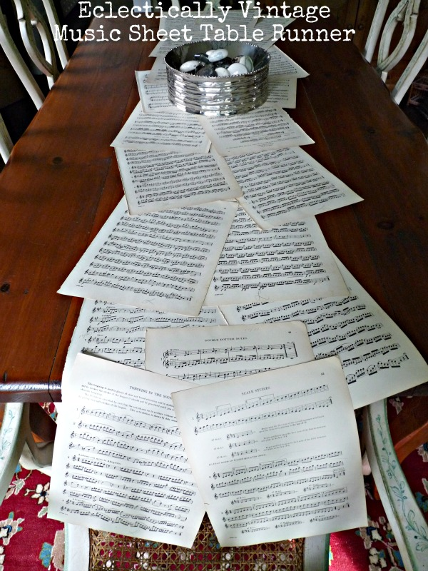 Music Sheet Crafts - love this table runner (my guests loved it)!  eclecticallyvintage.com