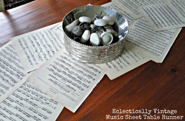 Music Sheet Crafts - love this table runner (my guests loved it)!  kellyelko.com