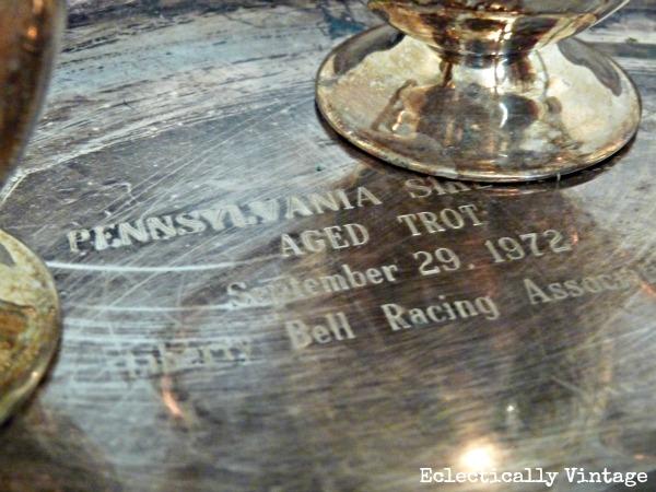 Engraved vintage silver platter - horse aged trot.  kellyelko.com