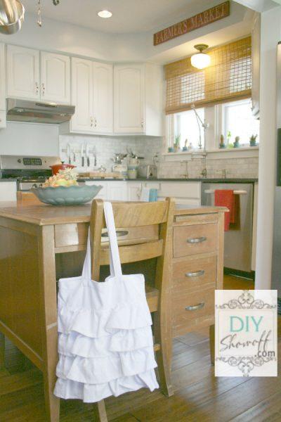 Vintage desk as kitchen island!