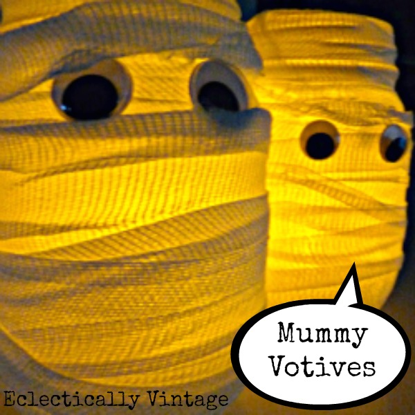 DIY Mummy Votives for Halloween eclecticallyvintage.com
