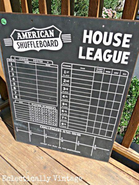 Vintage Shuffleboard Chalkboard Scoreboard