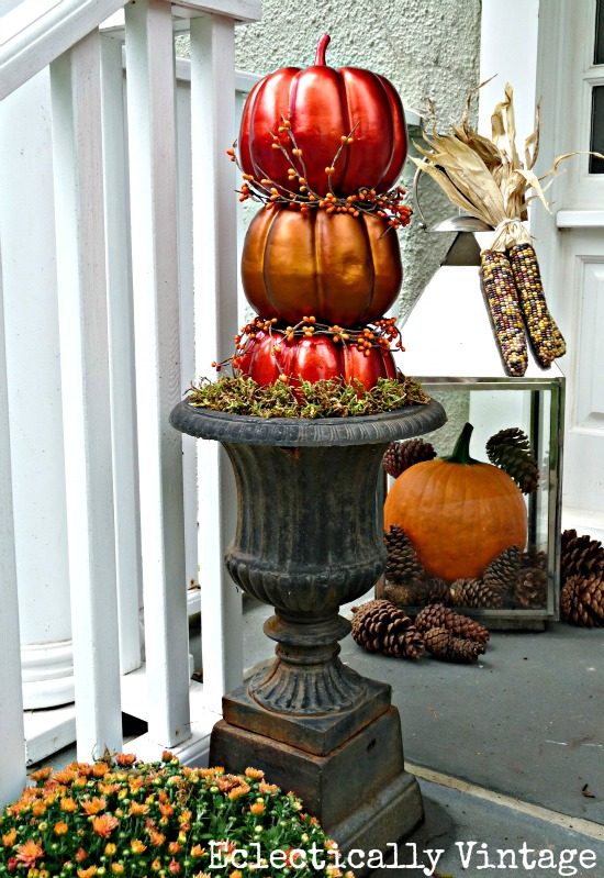 Fall Porch Decorating - tons of great DIY ideas here like these topiary pumpkins!  kellyelko.com