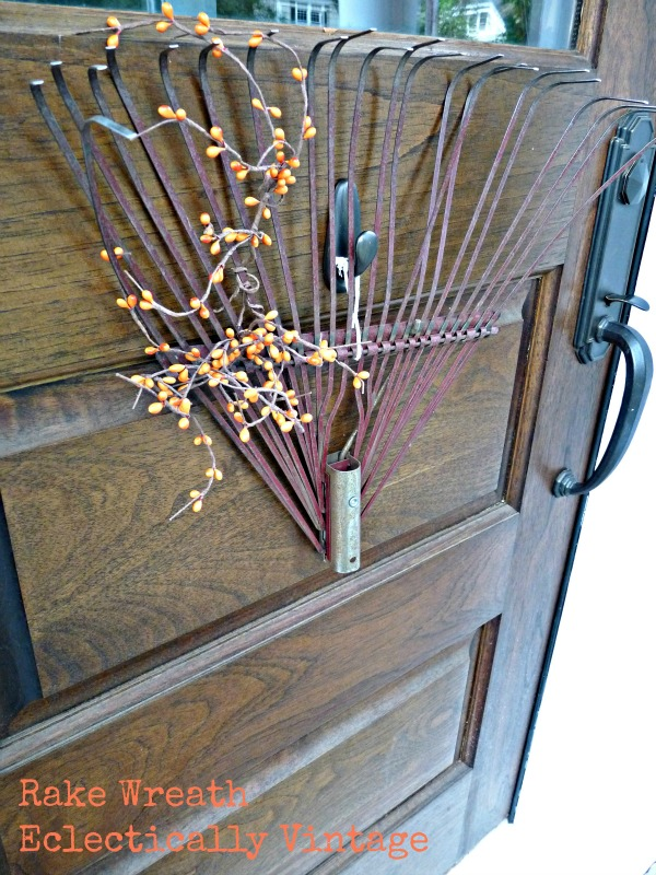 Fall Porch Decorating - tons of great DIY ideas here like this rake wreath!  eclecticallyvintage.com