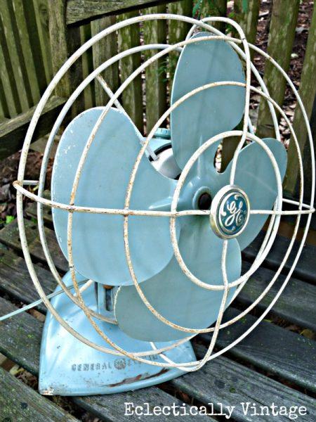 Vintage Turquoise GE Fan